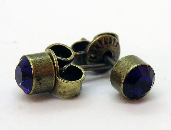 Konplott Black Jack Ohrstecker klassisch rund klein in Purple Velvet 5450527376006
