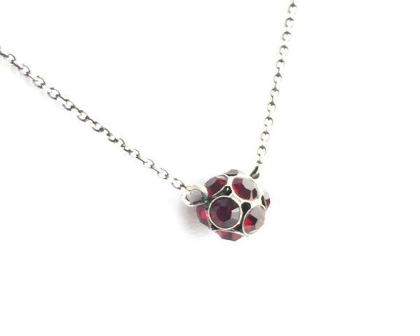 Konplott Disco Balls Halskette in siam rot mit Anhänger Größe M 5450527610353