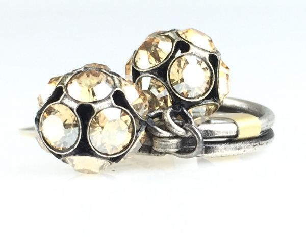 Konplott Disco Balls crystal golden shadow Ring mit 2 Kugeln 5450527640732