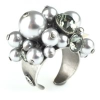 Konplott Pearl Shadow black diamond Ring 5450527480864