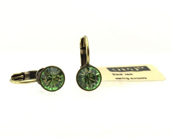 Konplott Black Jack Ohrhänger mit Klappverschluss in Peridot, grün 5450527110396