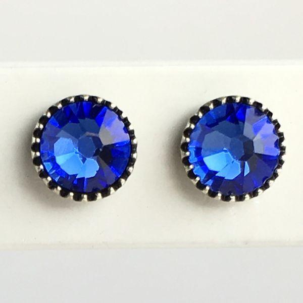 Black Jack Ohrstecker klassisch rund klein in blue sapphire