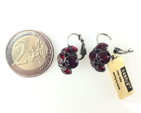 Konplott Disco Balls Ohrhänger in siam rot mit Klappverschluss 5450527290814
