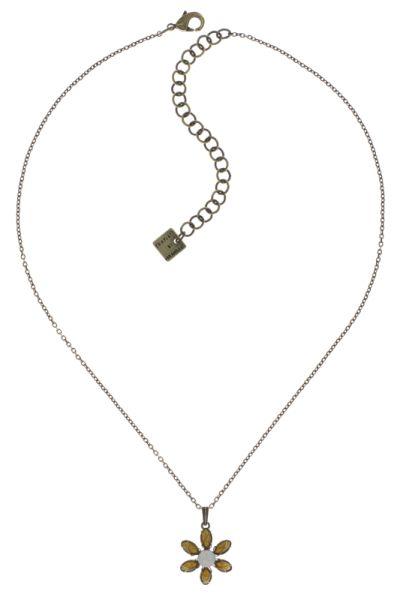 Konplott Psychodahlia Halskette mit Anhänger in gelb Messing 5450543730479