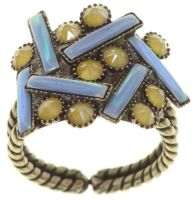 Vorschau: Konplott Graphic Flow Ring blau/gelb antique 5450543866710