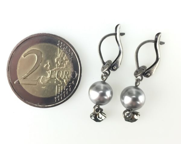 Konplott Pearl Shadow black diamond Ohrhänger mit längl. Verschluss 5450527480819
