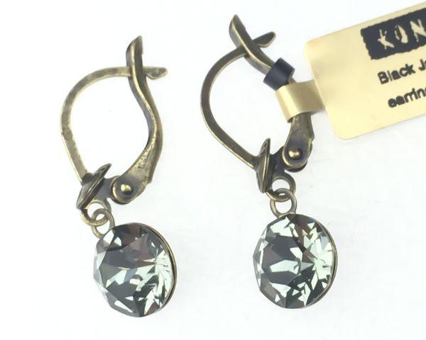 Konplott Black Jack Ohrhänger mit längl. Verschluss in black diamond, kristall schwarz 5450527641388