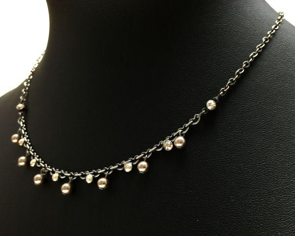 Konplott Pearl Shadow crystal golden shadow Halskette partiell steinbesetzt 5450527598705