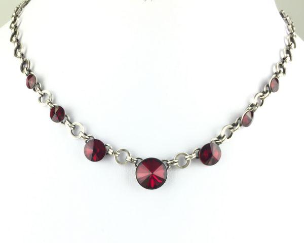 Rivoli rote Halskette partiell steinbesetzt