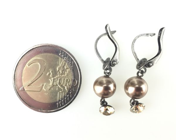 Konplott Pearl Shadow crystal golden shadow Ohrhänger mit längl. Verschluss 5450527598750
