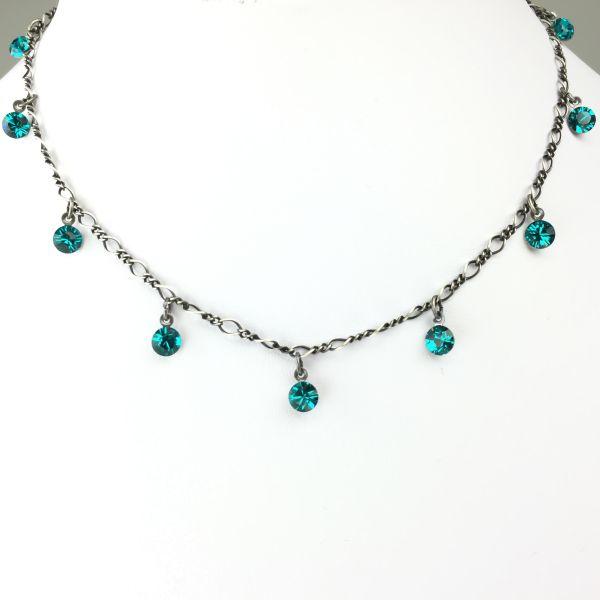 Tutui blue zircon Halskette steinbesetzt
