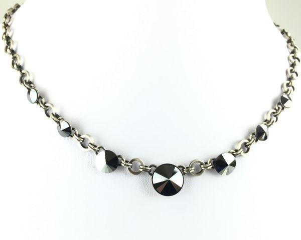 Rivoli schwarze Halskette partiell steinbesetzt