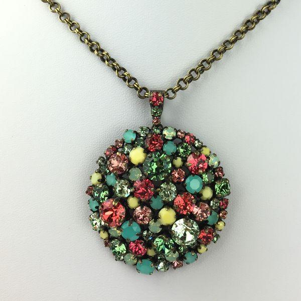 Konplott Ballroom multi Halskette mit Anhänger lang grün, gelb, rosa 5450543475691