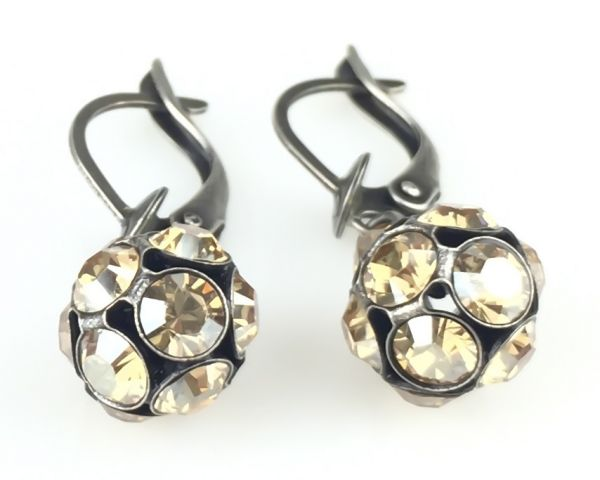 Konplott Disco Balls crystal golden shadow Ohrhänger mit längl. Verschluss 5450527640701