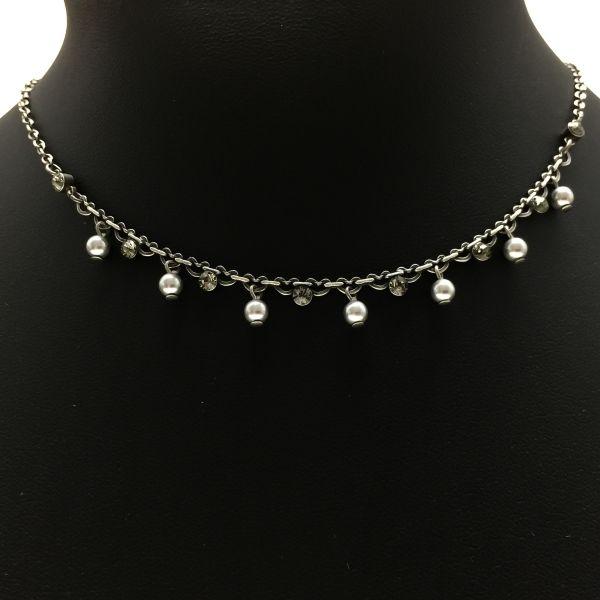 Pearl Shadow black diamond Halskette partiell steinbesetzt